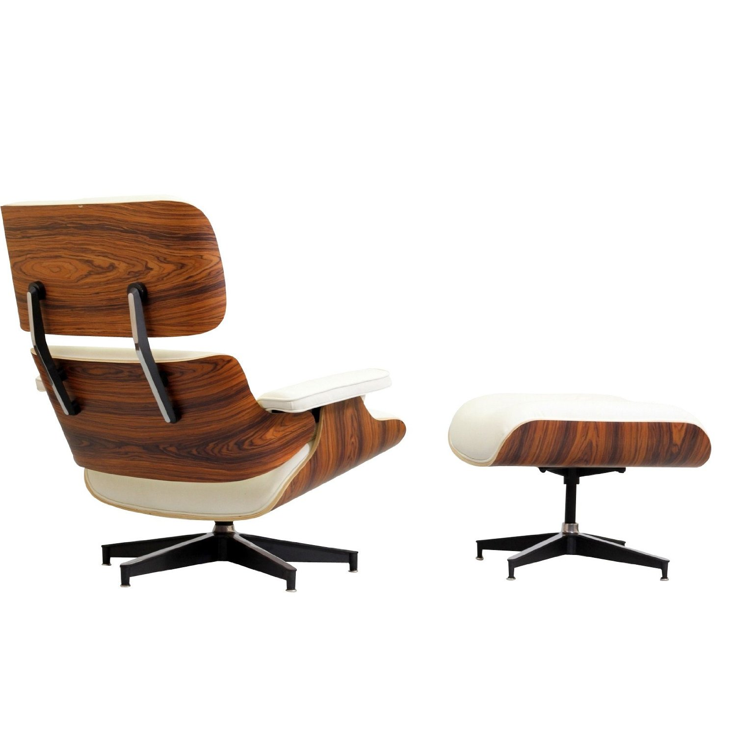 Eames Lounge Chair And Ottoman White Italian Leather Cross Grain Wood L