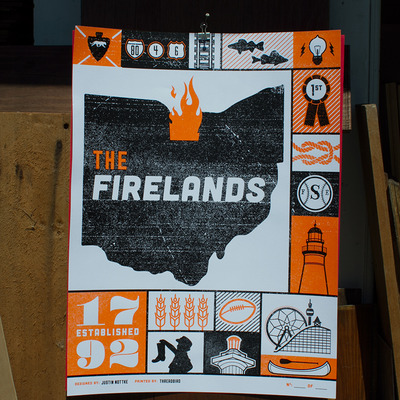 'the firelands' screen printed poster