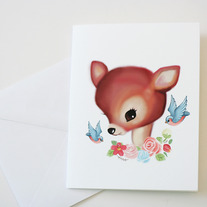 Retro Deer Blank Card