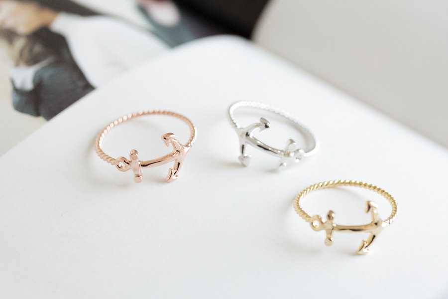 cute anchor ring,jewelry, jewelry ring,anniversary ring,couple ...