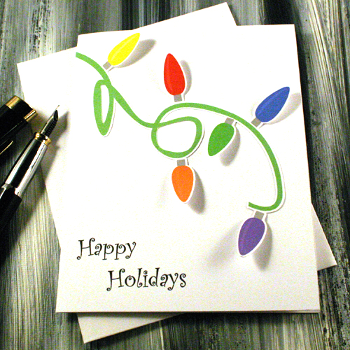 Happy Holidays Greeting Card - String Of Lights - Blank ? Greeting Cards by Twisted Oaks ...