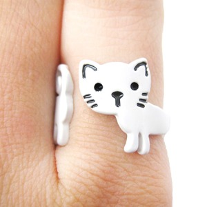 Cute Simple Kitty Cat Shaped Animal Wrap Ring in White | Size 5 to 7