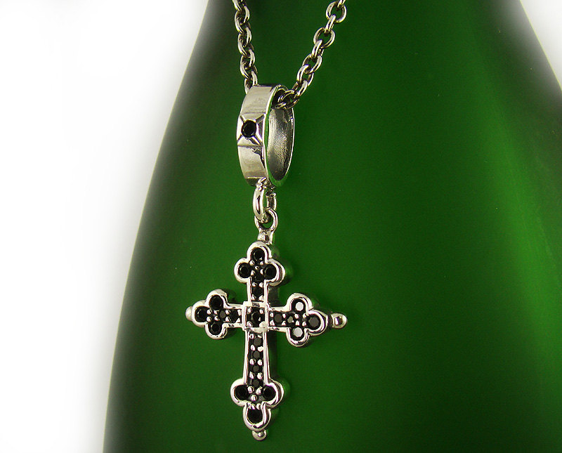 mens womens sterling silver 925 classic cross onyx pendant