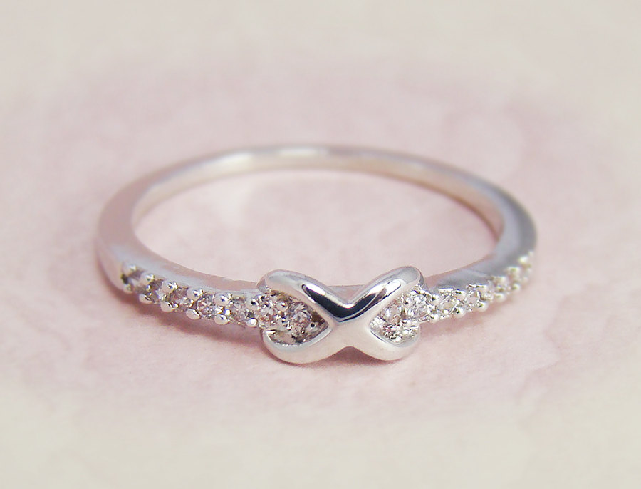 Tiny infinity ring crystal jewelry gold silver bridesmaid for Infinity ring jewelry store