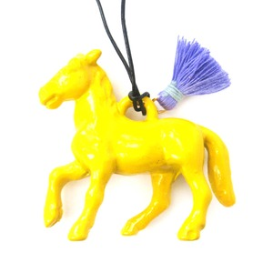 Colorful 3D Pony Horse Large Animal Pendant Necklace in Bright Yellow
