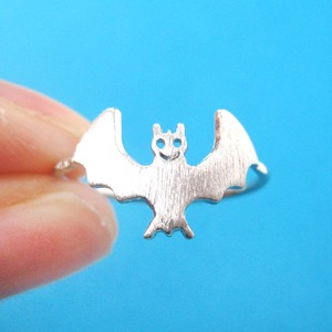 Cute Bat Shaped Animal Themed Ring in Silver | US Size 6 Only