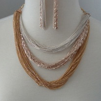 Three Tone Multi Layer Necklace Set