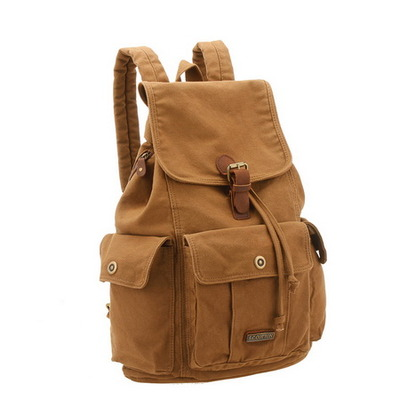 Fantastic multi pockets canvas backpack unisex
