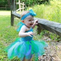 SET DRESS AND HEADBAND Peacock Tutu