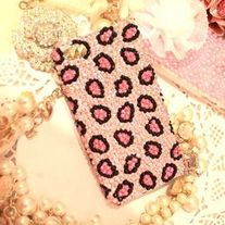 iphone 4G Design #601, New Bling Crystal Sparkle Pink Leopard Pattern Pink iPhone 4/4S Case