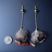 Real feather earrings.