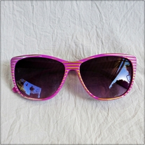Pink Gold Striped Sunglasses