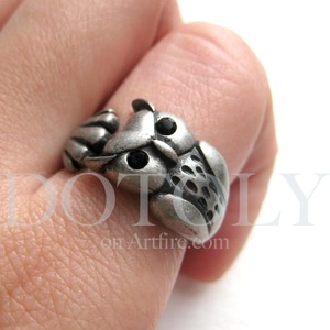 Miniature Owl Animal Wrap Ring in Silver Sizes 4 to 9 available