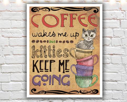Kitties Amp Coffee 11 X 14 Paper Print Coffee Cup Print
