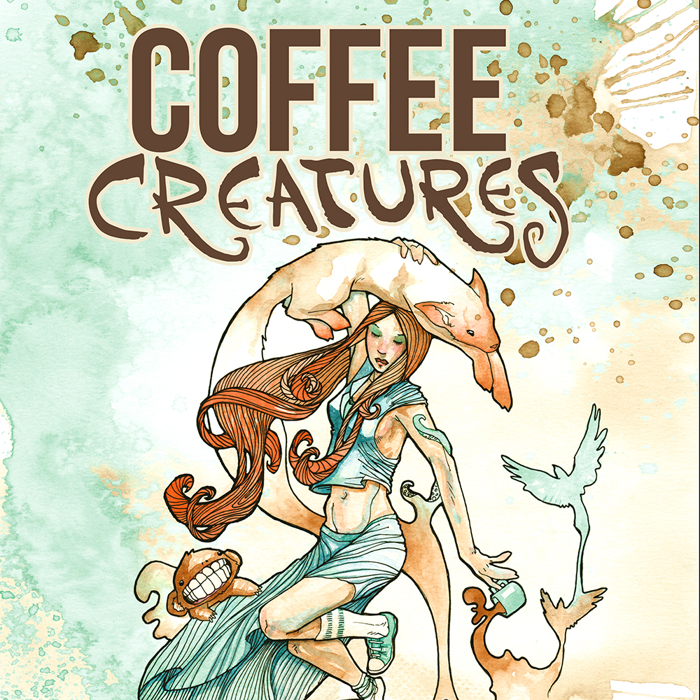 Book Cover Watercolor Paintings ~ Coffee creatures art book the and watercolor