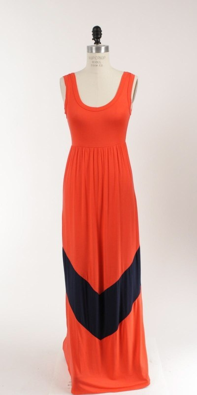 Colorblock Coral / Navy Long Tank Chevron Stripe Maxi Dress