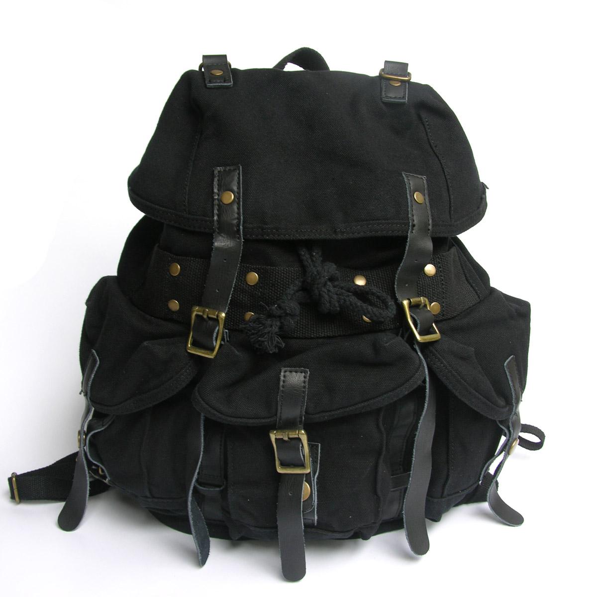 Men's Handmade Vintage Crazy Horse Leather Canvas Backpack ...