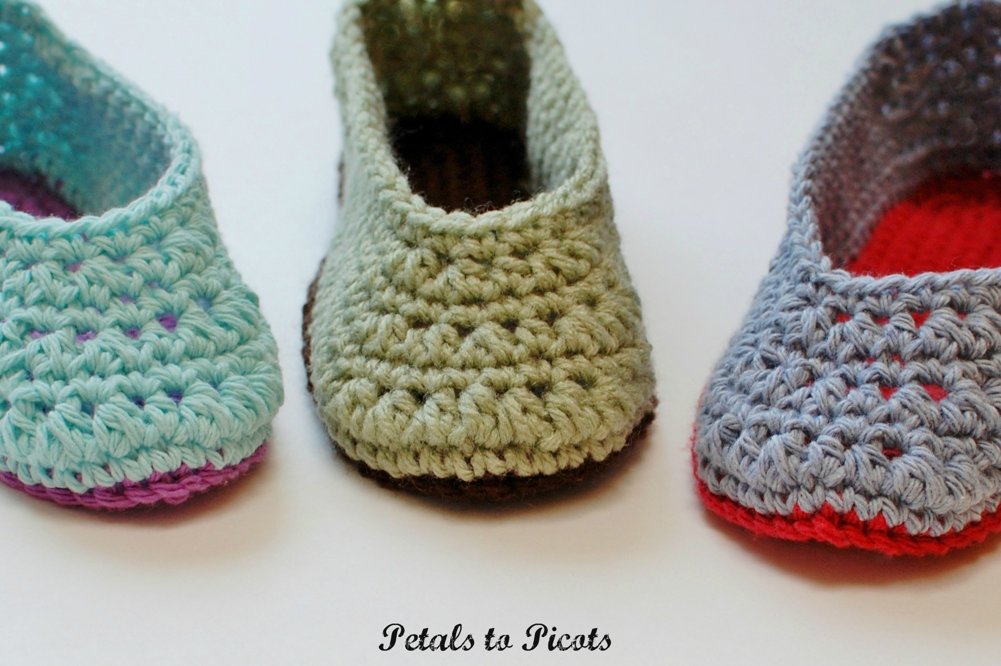 Crochet Pattern Ladies Slippers Womens Sizes 45 67 89 10