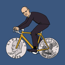 Dwight Eisenhower on bike with one dollar coin wheels