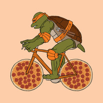 Michelangelo on bike with pizza wheels, 5x5 print