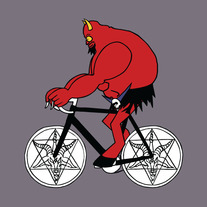 Satan riding bike with satanic symbol wheels, 5x5 print