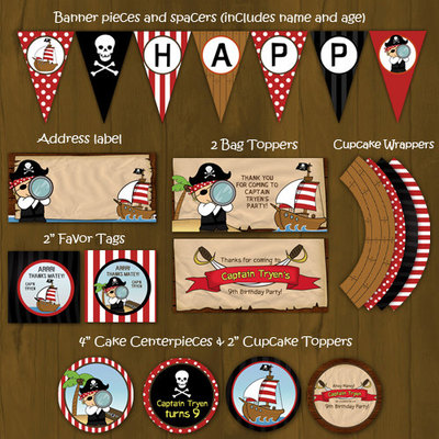 Pirate themed birthday party decorations package diy