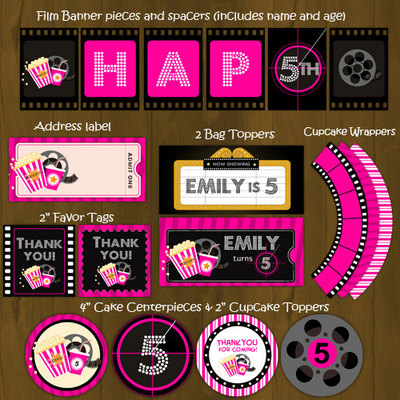 Hot pink movie night birthday party package diy