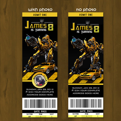 Transformers Bumblebee Ticket Birthday Invite Splashbox