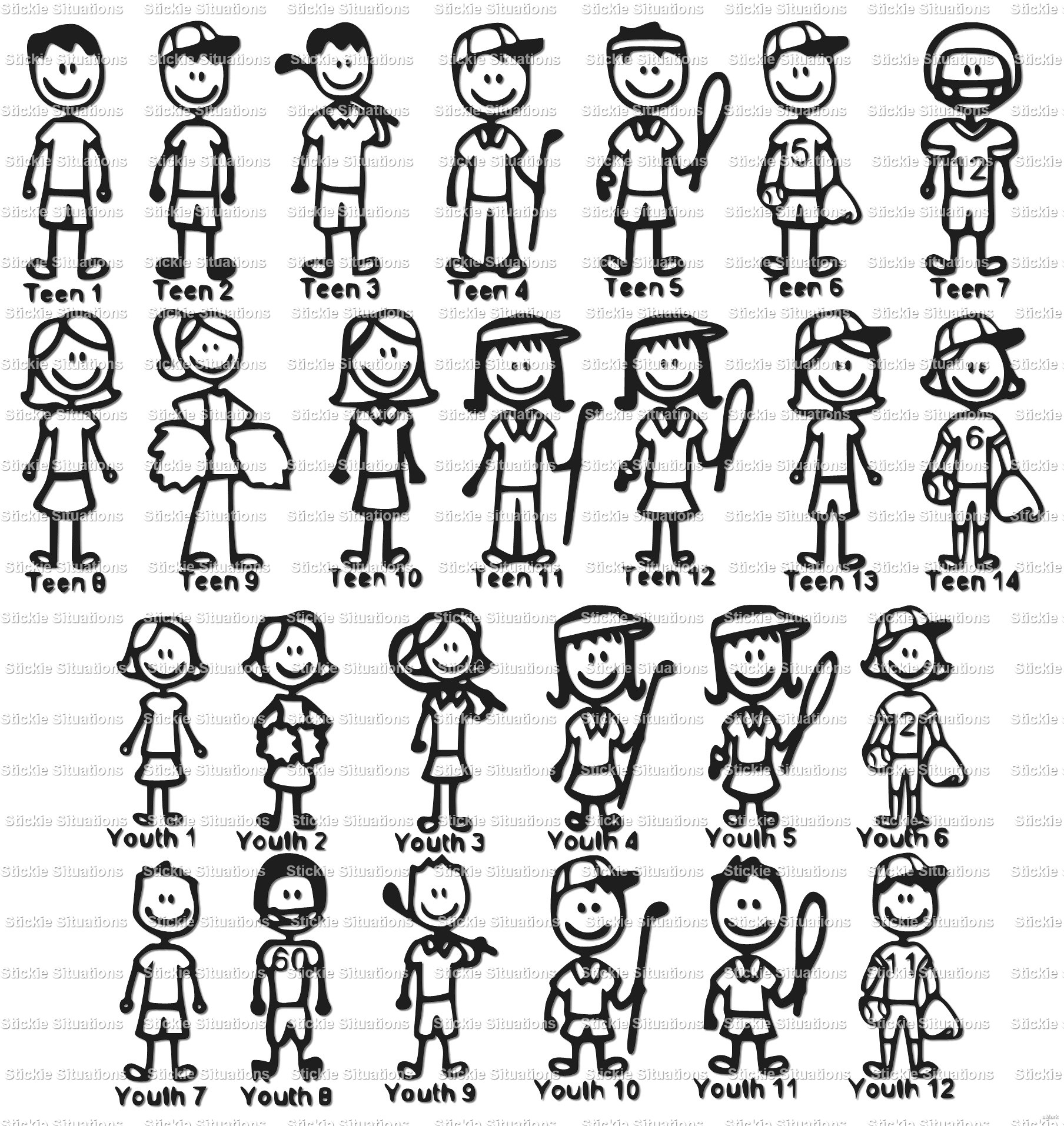 Stick Family Car Decal  Stickie Situations  Online Store Powered - Family car sticker decals