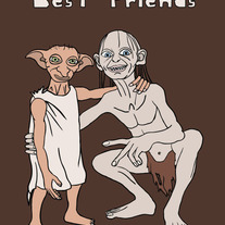 Gollum and Dobby are best friends, 5x7 print