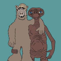 Alf and ET best friends, 5x7 print