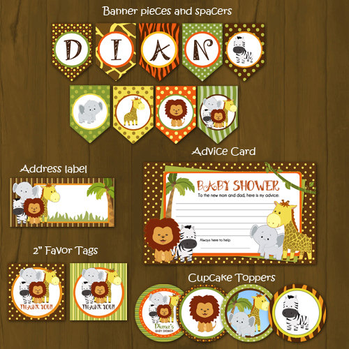 Safari Printable Baby Shower Package