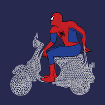 Spiderman on a web Vespa, 5x5 print