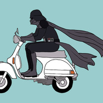 Darth Vader riding a Vespa, 5x7 print