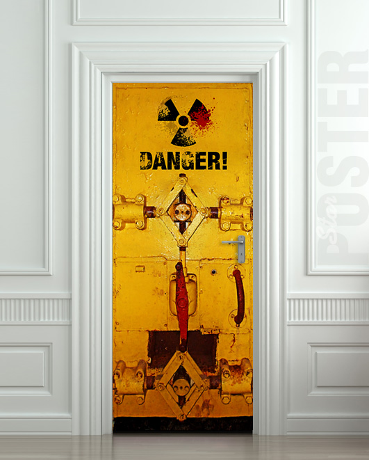 Wall door sticker danger laboratory safe resident evil for Door mural stickers