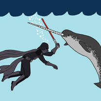 Darth Vader fighting narwhal, 5x7 print