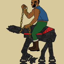 Mr. T riding an imperial walker, 5x7 print