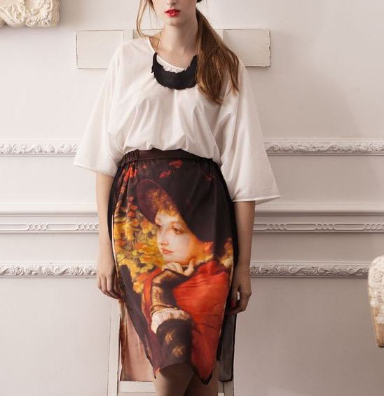 Designed Handmade Fineart Collection Middle Ages Court Oil Painting Chic Vintage Gorgeous Silk Skirt And Shirt