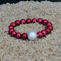 Bracelet-silver_focal_red_glass_pearls_1