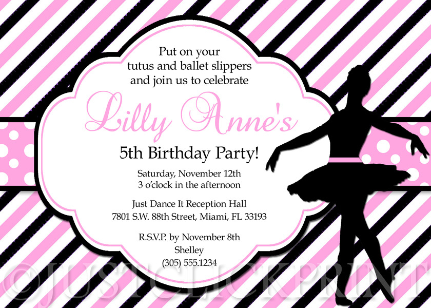 Ballet Pink And Black Ballerina Dancer Girl Birthday Party Invitation Just Click Print Online Store Powered By Storenvy
