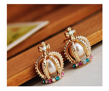 MISSSU JEWELRY |  Crown Neo-Victorian Fashion Earrings  | Online Store Powered by Storenvy :  fashion crystal earring crown