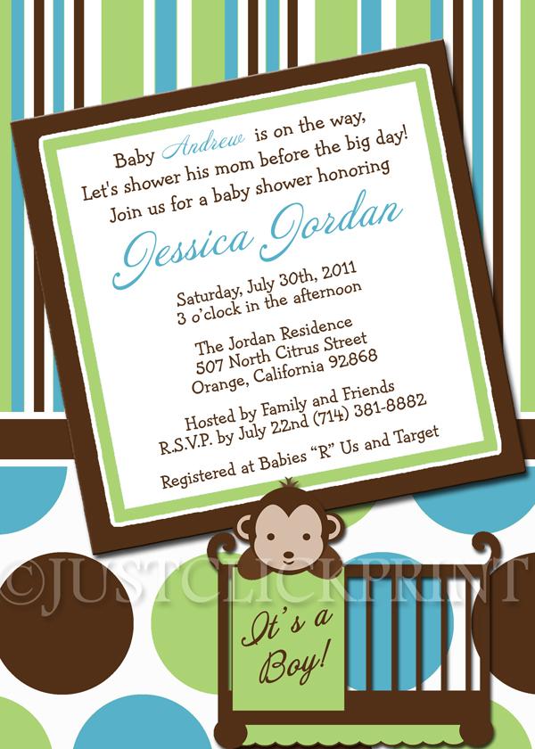 Mod Monkey Boys Green Teal Baby Shower Invitation Printable Just