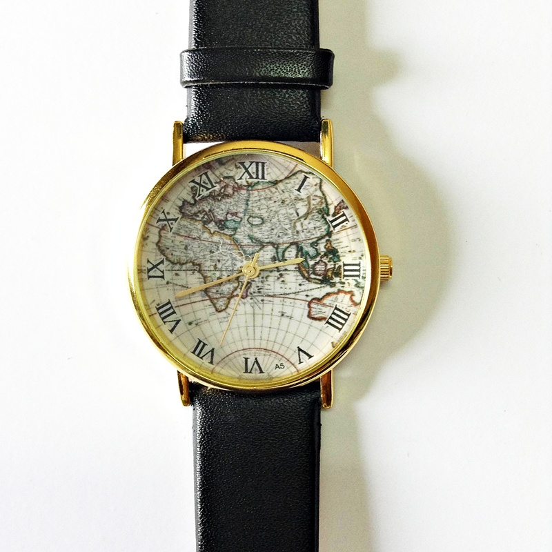 Map Watch, Vintage Style Leather Watch, Women Watches, Mens ...