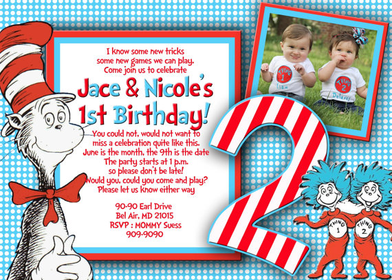 Dr Suess Thing 1 2 Invitation On Storenvy