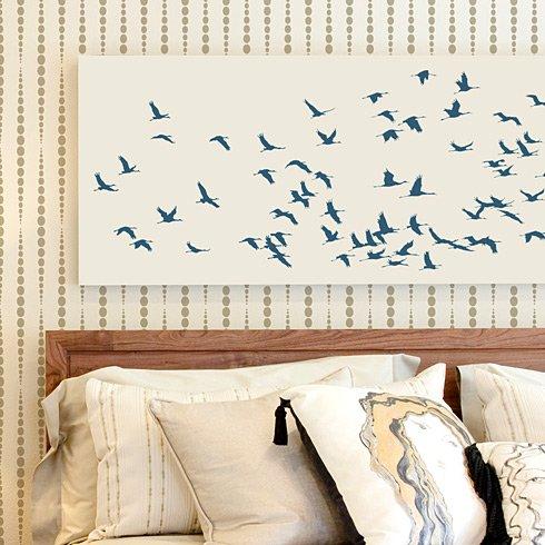 Stencil Art For Walls flock of cranes wall art stencil - reusable wall stencils for easy