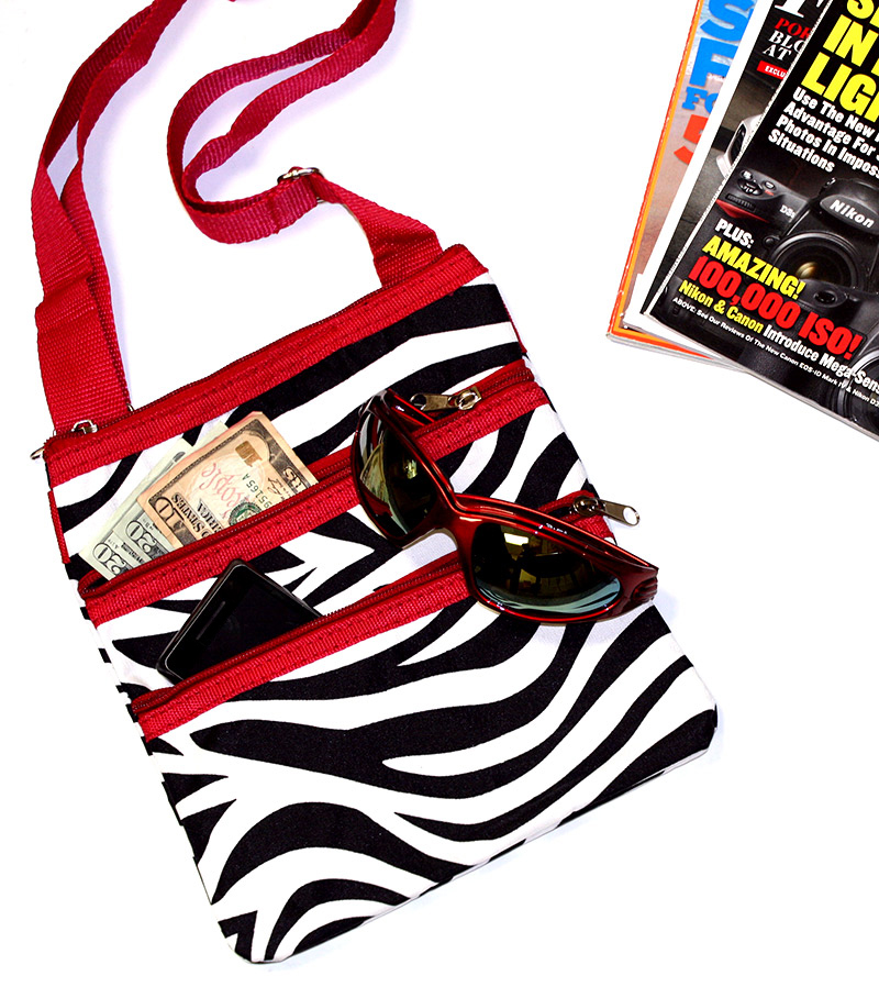 Black Wwhite Zebra Print Crossbody Purse Red Trim Superoutlet