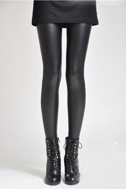 2d95643c6a6 On Sale - Faux Leather Black Skinny Leggings from Shinning