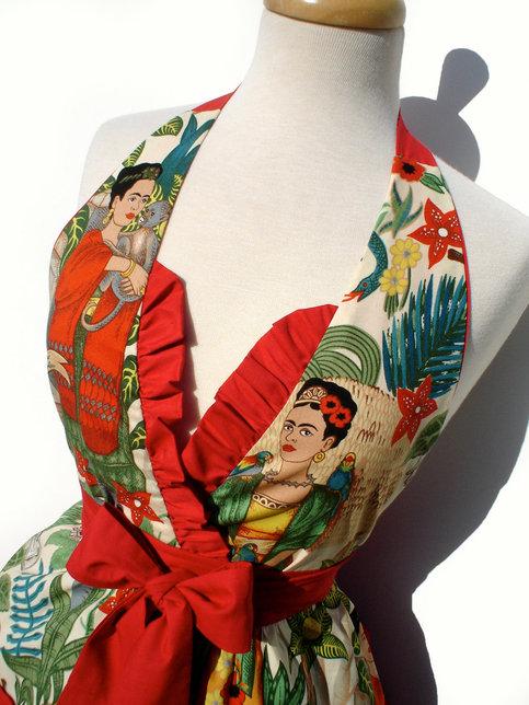Apron Frida Kahlo Vintage Inspired Mexican Apron Free
