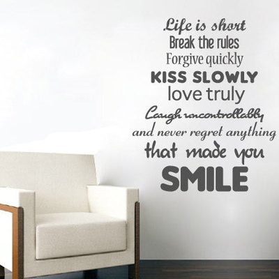 life is short wall sticker text quote · moonwallstickers