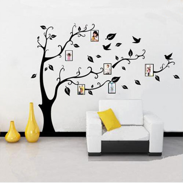 h002) black tree pattern photo posted removable wall sticker paper